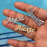 3UMeter 2020 colar carta de New Hip Hop conhecido personalizado bijuterias cor do ouro colar de strass Pingente por Mulheres presente MX200810
