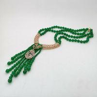 نمط جديد 2strands الخضراء الحجر شرابة قلادة ترصيع الصغيرة الاكسسوارات الزركون المشبك 50-53cm طويلة الأزياء والمجوهرات