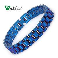 Ссылка, цепочка Wollet ювелирные изделия магнитотерапия из нержавеющей стали браслет для женщин мужчины голубые магниты магниты заживление здравоохранения