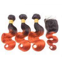 Ombre cor 1b laranja 16 polegadas 3 pacotes com 4 * 4 fechamento de onda peruana do corpo peruano
