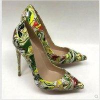 Bombas de 2020 mulheres Frete grátis de moda cobra grande Green Point impresso dedo do pé saltos altos finos sapatos de salto de verniz de fotografia reais sapatos de casamento