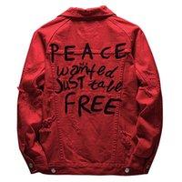 Sokotoo 남자의 문자 자수 빨간색 진 자켓 구멍 데님 코트 겉옷을 찢어