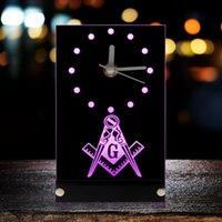 Стол столовые часы масонские масонные часы Mason Freemason эмблема с квадратом светодиодной подсветки и компасом логотип неоновый знак