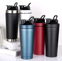 550ml 750ml Спорт Протеин шейкер бутылка из нержавеющей стали с двойными стенками Gym с вакуумной изоляцией металл Фитнес бутылка воды