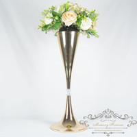 Parti Dekorasyon 64 cm Boylu Altın Gümüş Düğün Çiçek Vazo Kristal Bling Masa Centerpiece Köpüklü Ziyafet Yol Kurşun