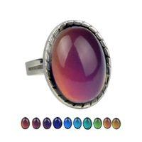 Goutte d'eau coeur de détection de température Mesure Bague Changement de couleur Mood Ring pour les femmes bijoux de mode volonté et cadeau de sable