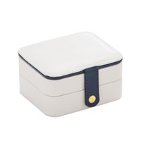 Storage Ornaments Portable Box PU Jewelry Multi-Layer Earrings Bracelets Travel White Mtwpx