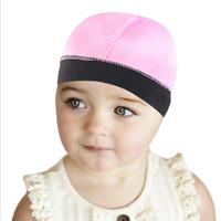 Cap Ondas de seda Dome For Kids Hair Color Sólidos tampa Bonnet Para Boy Headwear macia Bandana para Girl Wear Durag Acessórios de cabelo