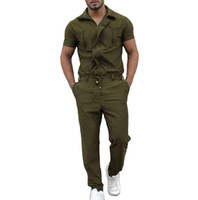 2020 neue Männer Sommer Zipper Jumpsuit Streetwear Männer Short Sleeve Solid Color Cargo Pants Set Jumpsuits Overall M-2XL