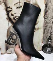 Fashion New Bamai Womens Ankle Autumn Winter Martin Genuine Cow Leather Paris High Heel 9.5CM Zip Booties SZ35-41