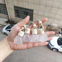 105pcs 6ml 다이아몬드 모양 젖빛 유리 자동차 펜던트 빈 병 자동차 매달려 향수 병 빠른 배송