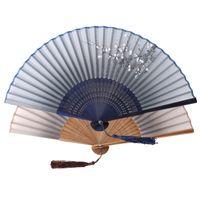 パーティーの好意古典的な竹製シルクブレンド日本の中国の手作りのポケットファン折りたたみ手持ち手作りの手作り祭の贈り物