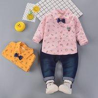 Enfants bébé vêtements bébé garçons vêtements décontractés coton gentlemen tenues imprimantes manches longues blouses clouts élastiques en pantalons élastiques