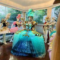 Q25 Bar model perform stage dance costumes led light luminous glowing women dress RGB full color evening skirt catwalk wear led party