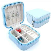 Señora de la joyería caja de almacenamiento de cuero Anillo Collares Cajas de almacenamiento portátil de maquillaje cosmético cremallera organizador de la joyería caja de herramientas Homeware IIA622