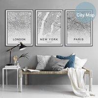 Черный Белый мир Город карта Париж Лондон Нью-Йорк Плакаты Nordic Гостиная Настенное искусство Фотографии Домашний декор Холст Картины