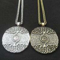 Wicca Tree of Life Yggdrasil Árbol del Mundo Charm Nórdico Talismán Vikingo Amuleto Pagan Colgante Collar Hombres Mujeres Joyería
