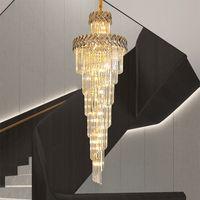 merdiven geniş uzun dumanlı gri kristal lüks, modern avize aydınlatma koridor lobi altın iç mekan aydınlatma lambaları