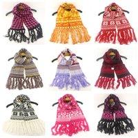 Cálido invierno de punto de scarfves niños del copo de nieve Impreso bufanda de lana tejido jacquard Pañuelo Warm Wraps Capa exterior sacrf D91007