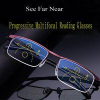 뜨거운 판매 진보적 인 독서 안경 다 초점 안티 블루 레이 유리 안경 하프 프레임 금속 합금 남성 여성 1.5 1.0 2.5 블랙