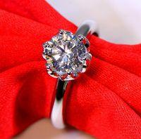 1ct Sterling Silver Wedding Anniversary Moissanite Diamond Ring Engagement Party Fine Smycken PT950 Kvinnor Presentkort Diamant Pen Test 2020