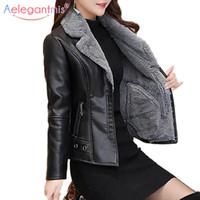 Couro feminino falso AELEGANTMIS outono inverno casaco de pele quente mulheres jaqueta senhoras slim moto motociclista básico casacos pelúcia casual outerwear