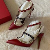 Высочайшее качество Рок Коты лодыжки ремень шпильках ботинки женщин, сексуальный острым носом на высоком каблуке Lady Pumps Свадьба Люкс с коробкой, EU35-43
