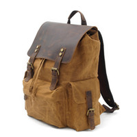 Designer Classic Vintage Waterproof Canvas Real Leather Mens...