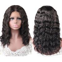 Meetu Wet et Wavy Water Wave 13 * 1 t dentelle avant Perruque avant 16 pouces Perruques de cheveux humains Couleur naturelle pour les femmes Tous les âges