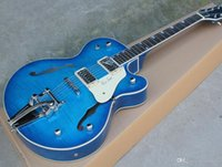 tremolo sistemi beyaz Picard, alev bej kaplama, kişiselleştirilmiş hizmet, ücretsiz kargo ile toptan özel mavi elektro gitar