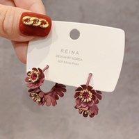 2020 مجوهرات تصميم أزياء العلامة التجارية الجديدة النبيذ الأحمر كريستال زهرة القرط هوب النساء الأطواق الصغيرة حلق الصيف الكورية هدية
