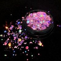 Nagelfunkeln 1g / 5g Laser gemischt Flash Holographische Pailletten DIY Eye Makeup Patch Gemischte Größe Pulver 3D Art Dekorationen