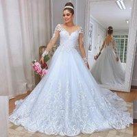 Винтажная линия Кнопка Назад Свадебные платья O вырезом с длинным рукавом Кружева Аппликации пришивания юбки Bridal Gowms платье партии vestidos де Noiva