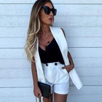 Sıcak Satış Kadınlar 2 Parça Setler Blazer Kolsuz + Şort Pokcets Ceket Coat Ofisi Bayanlar Çift Düğme Kısa Pantolon Yelek X0923 ayarlar