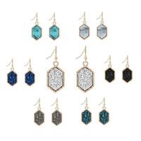 Hot Selling Druzy Stud Earrings Fashion Silver Gold 12mm Bling Hexago Resin stone Dangle Earrings For Women Girls