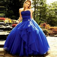 Royal Blue Quinceanera Dresses doce 16 Vestidos Lace Strapless Modern Plus Size baratos Bola Prom vestido até o chão Plus Size Lace Up