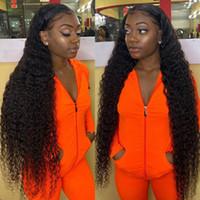 Verknüpfende lockige Perücken 150% Dichte 13 * 4 Spitze Frontal Human Hair Perücken Für Frauen Prepucked Deep Wave Perücke Full Mongolian Haare