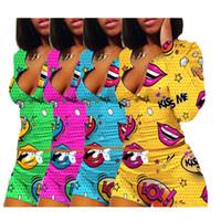 النساء نوم Playsuit تجريب زر نحيل الساخن طباعة طويلة الأكمام والسراويل 2 قطعة مجموعة V الرقبة النساء زائد الحجم رياضية LY107