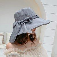 ビーニー/スカルキャップ布の帽子女性の夏のスタイルのリネンの花の色のリボンの弓の弓ネット屋外紫外線保護折りたたみワイドブリムハット