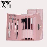XYj 8 in 1 Eyebrow Makeup Tool Set Eye Grooming Kit Double Head Eyebrow Pencil Brow Brush Tweezers Trimmer Comb Scissor