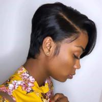 사파이어 짧은 Pixie 레이스 가발 Pixie 컷 가발 스트레이트 브라질 레미 헤어 150 % 밀도 기계 여성을위한 인간의 머리 가발을 만든
