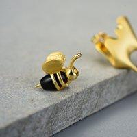 Lotus Fun real prata esterlina 925 Handmade Fine Jewelry 18K ouro Abelha e mel escorrendo assimétrica brincos por Mulheres presente 200921
