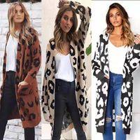 otoño invierno ocasionales de las mujeres 2020 otoño Invierno Piel de leopardo Tejer la chaqueta del suéter de la rebeca de las mujeres