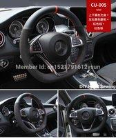 Pour Benz CLA220 haute qualité Anti-Slip en cuir noir rouge noir Suede cousu main Enfilez bricolage Couvre volant