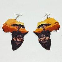 Laser cortar madeira África Mapa Lion elefante girafa animal Brincos Mulheres Moda de madeira Partido Afro Jóias Acessórios Africano