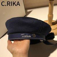 2020 Cap Navy Otoño Invierno Mujer de la cinta del sombrero arco de la manera de la boina Carta bordado Sombreros de invierno Vintage niñas sombrero de la boina francesa