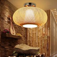 Bamboo vimini Rattan Ombra montaggio a filo soffitto della lampada del giapponese asiatico rustico Plafon lampada da letto Cucina Corridoio Balcone