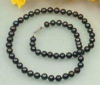 """Schön 9-10mm natürliche Tahitian schwarze Perlen-Halskette 18 Zoll 36"""""""