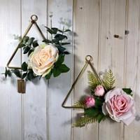 Декоративные цветы венки геометрические металлические гирлянды домой висит венок украшения искусственный розовый цветочный кольцевой держатель стены обруч орнамент