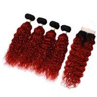 Paquete de cabello humano onda de agua 1b Red Ombre Extensiones de cabello Color con 4 * 4 Tamaño de cierre 8-30 pulgadas